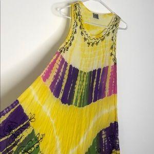 Tie dye embroidered boho festival summer dress